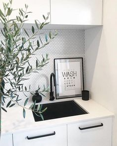 The penny tile is still here! The penny tile has been around forever, but they seem to be making more of a… Small Laundry Rooms, Laundry Room Organization, Laundry In Bathroom, Basement Laundry, Bathroom Black, Laundry Closet, Target Bathroom, Laundry Cupboard, Colorful Bathroom