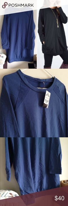 """Blue Crew neck Long Sleeve Knit Dress w Pockets Brand new with tag. Blue. Pockets. Long sleeves. 95% cotton 5% spandex. Measurement laying flat: bust: 22"""" length: 35"""" Model photo by @Scanon (40) Boutique Dresses Long Sleeve"""