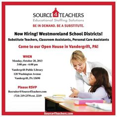 VANDERGRIFT, PA! Come to our #Source4Teacher Open House on 10/28 at Vandergrift Public Library! Call to RSVP today!
