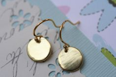 Disc Earrings Tiny Disc Earrings Everyday Jewelry by madebymoe