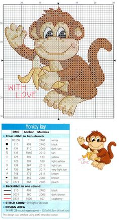 Cross Stitch Card Shop, Monkey - With Love