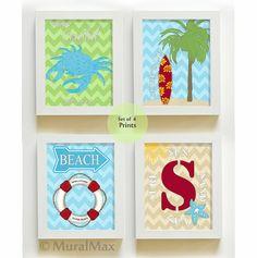 Beach Decor - Beach Art - Surfer Boy Beach Art - Boy Room Decor -4 art prints - Surf - Crab - Palm tree -  Beach Modern Nursery art via Etsy