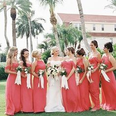We love these coral bridesmaids dresses paired with ribbon bouquets for this classic and preppy wedding in Florida. | NK Productions Coral Bridesmaid Dresses, Wedding Dresses, Ribbon Bouquet, Preppy, Bouquets, Florida, Classic, Fashion, Bridal Dresses