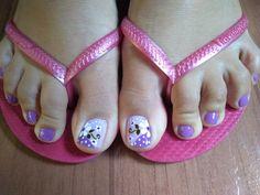 Tiana😍 Pedicure Designs, Pedicure Nail Art, Toe Nail Designs, Toe Nail Art, Manicure And Pedicure, Toe Nails, Cute Toes, Nail Decorations, Nail Tutorials