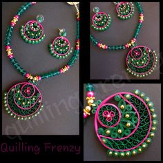Green and pink traditional ram leela design earrings set! Paper Quilling For Beginners, Paper Quilling Tutorial, Paper Quilling Patterns, Quilling Designs, Thread Jewellery, Paper Jewelry, Paper Beads, Beaded Jewelry, Handmade Jewelry