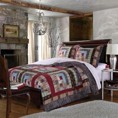 King Quilt Set Cotton Bedding Patchwork 3 Piece Colorado Lodge With Pillow Shams #GreenlandHomeFashions #Country
