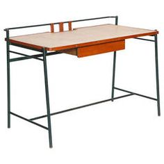 Leather and Rattan Desk by Jacques Adnet