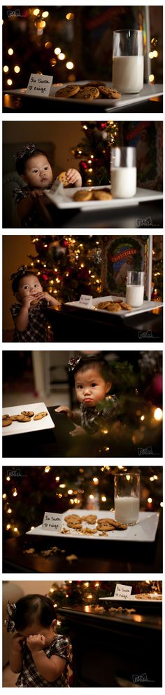 Baby girl stealing Santa Claus cookies