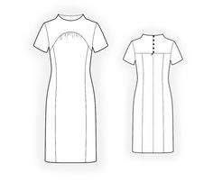 Dress In Vintage Style - Sewing Pattern #4427 Made-to-measure sewing pattern from Lekala with free online download. Fitted, Princess seams, Yoke, Gathers, Buttoned, Jewel neck, Stand collar, Short sleeves, Knee length, Straight skirt, Panel skirt, No pockets