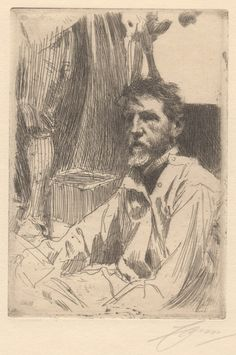 Anders Zorn, August Saint Gaudens I - etching