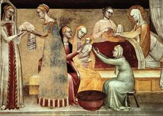 Giovanni da Milano The birth of the virgin, 1365, Rinuccini. Джованни да Милано