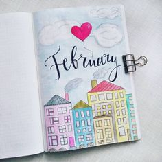 Bullet journal monthly cover page, February cover page, heart shaped balloon drawing, house drawing, city drawing. | @artwwwera