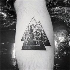 Mens Tree Forest Valknut Leg Calf Tattoo Ideas