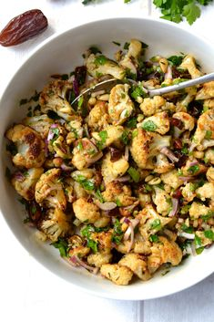 Roasted Cauliflower, Date & Red Onion Salad | Every Last Bite
