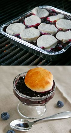 Berries Topped with Biscuits- Part of 36 Things To Grill Other Than A Burger.  Fresh sweets for the tailgate!  #knife #knives