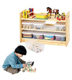 Toy Storage Organizer- easy enough to DIY out of an old book case or dresser and some shoe bins!