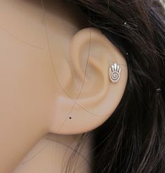 Tiny Hamsa hand Cartilage Earring Tragus by GreatJewelry4All