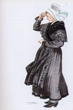 Costume de l'île de Batz - Coiffe de lingerie sans broderie mais finement froncée. Châle de velours bordé de dentelle. Jupe de lainage bordée de petits velours sous un tablier de moire bordé de même.
