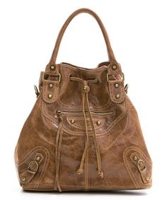 Another great find on #zulily! Brown Crushed Leather Bucket Bag by Mila Blu #zulilyfinds