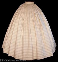Tucked over-crinoline petticoat...1860s.