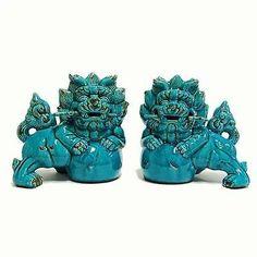 "Chinese Porcelain Turquoise Foo Dog Statue Set Asian Ceramic Feng Shui NEW12 5""   eBay"