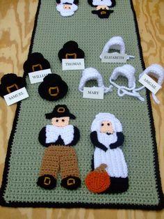 Crochet Pattern Thanksgiving Pilgrim Tablerunner. $7.99, via Etsy.