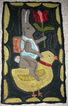 Easter rug, hooked by Patty Hoffmeyer