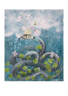Art Print: Natrix Oxalis by ArtLisbethThygesen on Etsy Snake, crown, queen, flower, kundalini, Natrix natrix, oxalis.