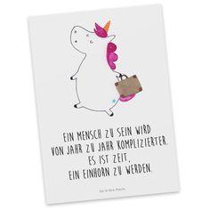 Postkarte Einhorn Koffer aus Karton 300 Gramm  weiß - <b>Das Original von Mr. & Mrs. Panda.</b>  Diese wunderschöne Postkarte aus edlem und hochwertigem 300 Gramm Papier wurde matt glänzend...