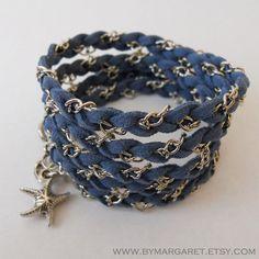 Denim Blue TWIST friendship bracelet, charm bracelet, wrap around bracelet, braided bracelet, beach starfish charm