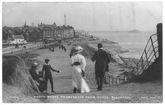 North Shore Promenade walking towards Gynn Square with The Blackpool Tower in the distance. Blackpool Uk, North Shore, Days Out, Belle Epoque, Old Pictures, Black And White Photography, Seaside, The Past, Coast