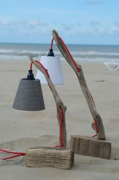 Nice lamp made with two small driftwood pieces and red wiring, handmade of course! Unavailable but you will find more driftwood lamps with the link bellow.