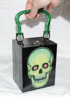 Green Skull double sided Cigar Box purse, one of a kind. $25 plus shipping