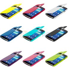 Color Case Open Front Wallet Hard Cover for Samsung Galaxy S4 Active i537 Phone suosikit : pinkki, liila, turkoosi.