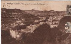 Vista d'Arenys de Munt des de llevant. Postal circulada el 4/8/1937. Impremta Thomas.