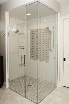 White Tiled Shower with Accent Floor and Accent Square. Glass shower Door and Surround White Tile Shower, White Tiles, Classic Bathroom, Glass Shower Doors, New Carpet, Bath Remodel, Tiled Showers, New Homes, Oxford White