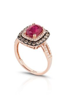 Gemma Rose Gold Ruby and Diamond Ring, 2.67 TCW