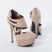 Qupid Women's High Heel Stilettos Shoe Ankle Strap Buckle Platform Pumps, Beige PU Leather