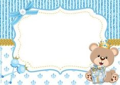 teddy bear prince kit for free print - Angelina Lopez Home Dibujos Baby Shower, Imprimibles Baby Shower, Baby Shower Invitaciones, Party Kit, Baby Shawer, Bear Party, Baby Scrapbook, Baby Birthday, Baby Cards