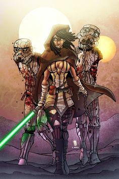 Jedi Michonne and her ST zombie pets by Dany-Morales.deviantart.com on @deviantART