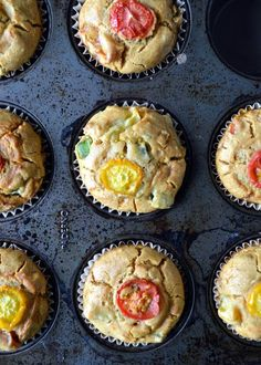 Savory green bean and tomato muffins - made it - looked pretty, but didn't taste pretty.