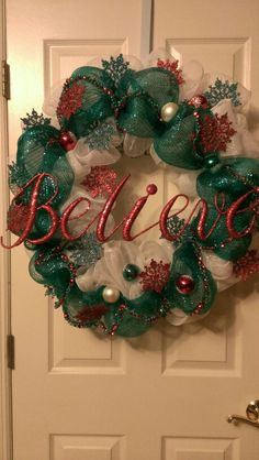 """Believe"" Christmas Themed Deco Mesh Wreath"