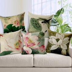 Vintage style Decorative throw pillows Lotus flower cotton linen seat retro cushion cover for sofa home decor funda cojines Couch Cushion Covers, Couch Cushions, Throw Pillow Covers, Cushion Pillow, Sofa Covers, Pillow Cases, Custom Sofa, Sofa Home, Decor Pillows