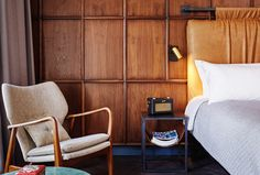 The Hoxton, Amsterdam: High design & hipster hotel, restaurant & lounge Wooden Beams Ceiling, Boutique Interior Design, Petites Tables, A Boutique, Boutique Hotels, Boutique Hotel Amsterdam, Boutique Hotel Bedroom, Bedroom Interiors, Wood Interiors