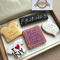 F • R • I • E • N • D • S I'll be there for yoooou! 🎼  Surprise a friend who's a fan with these yummy buttery-vanilla biscuits that make the perfect birthday present to receive in the post!  The centre biscuit can be personalised with a 'name' and 'age' of your choice, just leave £18