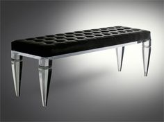 Lucite furniture is a hit and miss for me - this bench is a hit! Lucite Furniture, Glass Furniture, New Furniture, Furniture Ideas, Old Hollywood Decor, Black Bench, Home Decor Inspiration, Scandinavian Design, Dining Bench