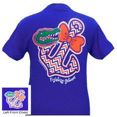 New Florida Gators Chevron Anchor Bow Sweet Girlie Bright T Shirt