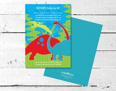 Host a Dinosaur Birthday Party! Invitation + coordinating party supplies | The Celebration Shoppe