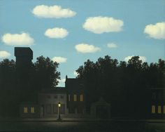 Empire of Light, 1950 by Rene MagritteWith no fantastic element other than the single paradoxical combination of day and night, René Magritte upsets a fundamental organizing premise of life. Sunlight, ordinarily the source of clarity, here causes the confusion and unease traditionally associated with darkness. The luminosity of the sky becomes unsettling, making the empty darkness below even more impenetrable than it would seem in a normal context.