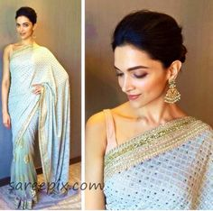"""Tall beauty Deepika padukone in mirror saree at """"Bajirao Mastani"""" promotions in Jaipur. The """"Chennai express"""" girl looked gorgeous in Sabyasachi half and h"""